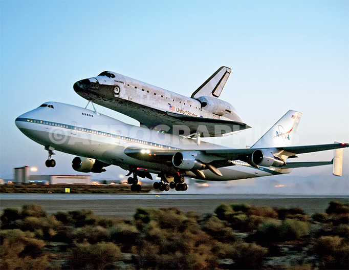 Discovery atop 747 Carrier Aircraft