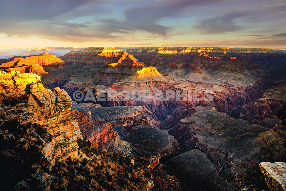 shortly after sunrise, looking west from Mather Point. View of Osiris Temple and Point Sublime